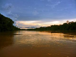 Sonnenuntergang am Kinabatangan Fluss