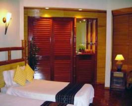 Eines der Zimmer in der Lodge