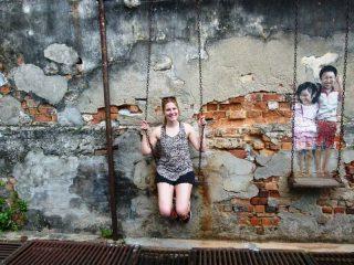 Streetart Schaukeln in Penang