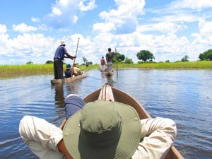 Das Okavango Delta im Mokoro erkunden