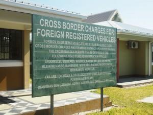 Grenze von Namibia nach Botswana