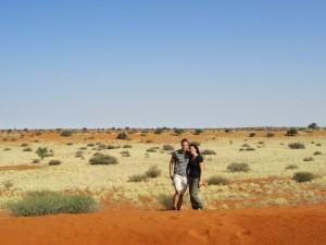 Reisende in der Kalahari