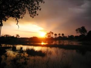 Botswana - Okavango Delta - Sonnenuntergang über dem Delta - Rundreise Namibia Botswana