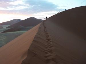 Fußspuren im Dünensand bei Sossuvlei