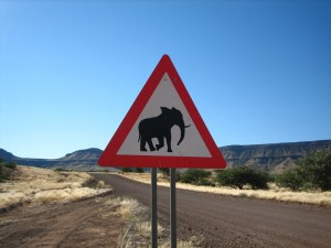 Straßenschild Elefant Namibia