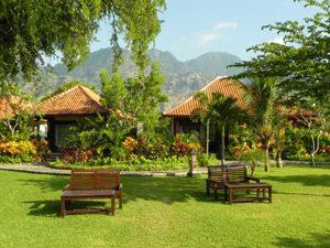 Rundreise Bali & Komodo: Liegestühle im Hotelgarten