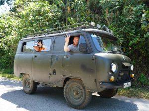 jungle trekking Phong Nha Vietnam - minivan