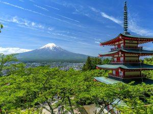 Uitizcht Japans landschap en tempel
