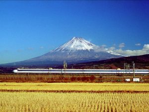 Vervoer Japan trein - Uitzicht Fuji