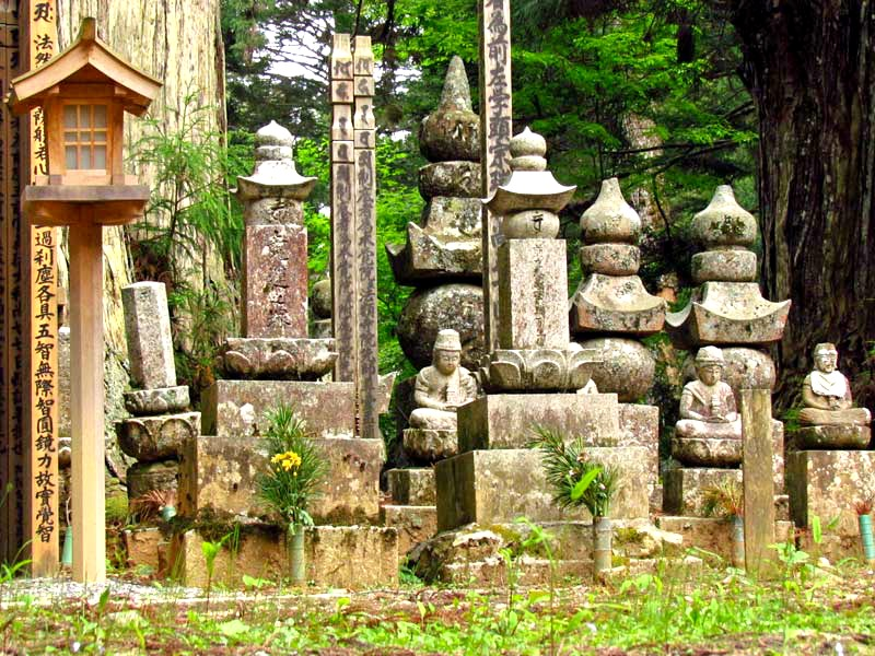 Met een monnik over een oude begraafplaats Koyasan, Japan