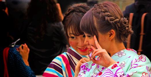 Japanse meisjes in kimono in japan