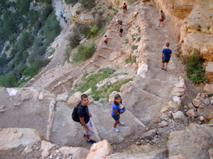 Afdalen in de Grand Canyon