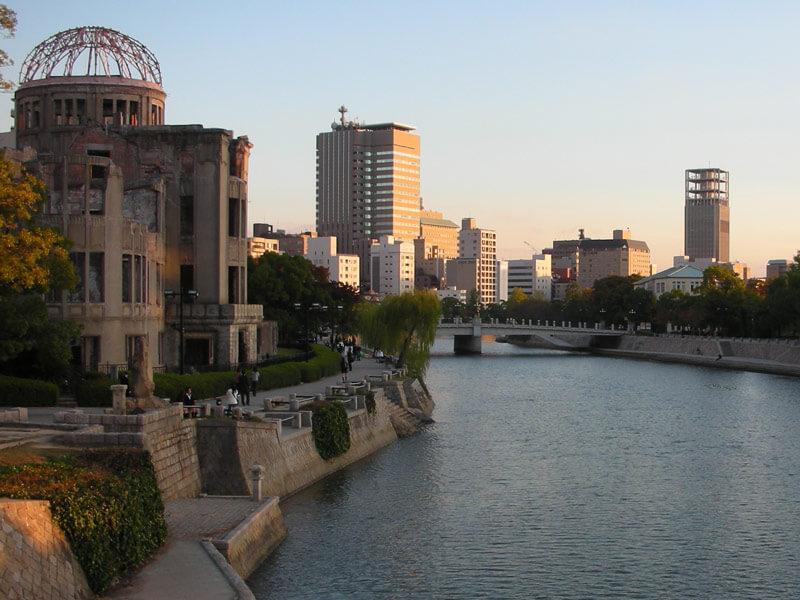 Japan Highlights Reise Hiroshima Atombombendom Sonnenuntergang