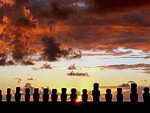 Paaseiland Chili zonsondergang