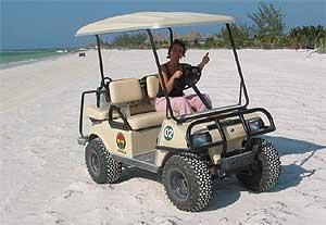 Mit dem Golfcart unterwegs auf Holbox
