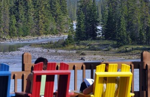 Uitzicht vanuit je acco in Jasper