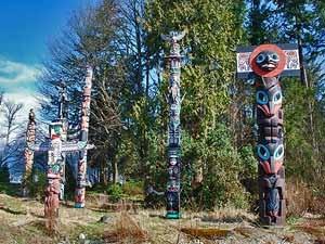 Informatie Canada vakantie: totempalen in Stanley Park, Vancouver