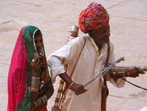 Ein Citarspieler in Indien