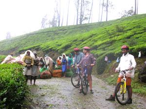 Gruppe von Radfahrer in Kerala