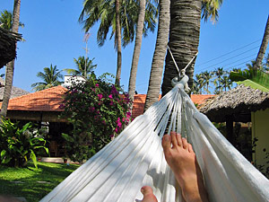 Entspannung am Strand von Kovalam in Indien