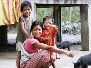 Einheimische auf der Insel Majuli
