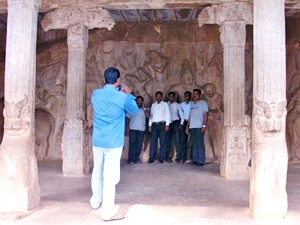 Felsenreliefs in Mamallapuram in Tamil Nadu