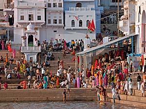Pilger am See in Pushkar