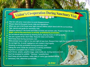 Informationstafel am Eingang zum Sasan Gir Nationalpark