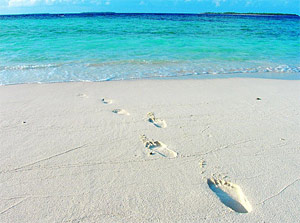 Fußspuren im Sand: Malediven Urlaub