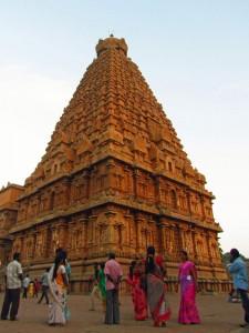 Der Brihadishwara Tempel in Tanjore bei Abenddämmerung