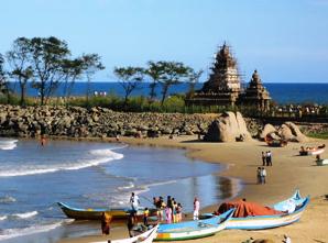 Tempel am Strand von Mamallapuram in Tamil Nadu