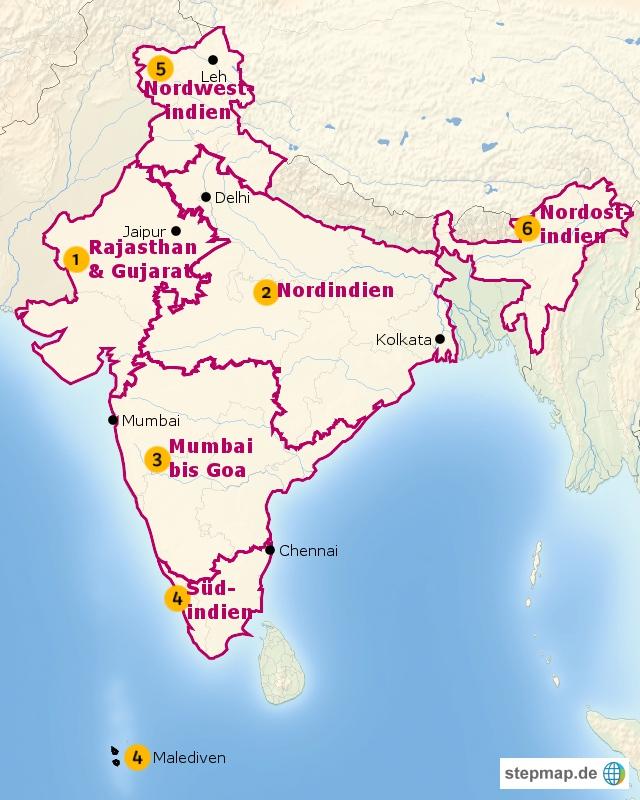 indien karte mumbai Indien Karte   Übersicht der Regionen | erlebe indien