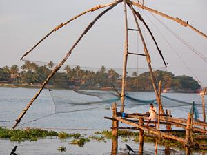 Fischernetze in Kerala