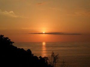 Costa Rica reis; ondergaande zon