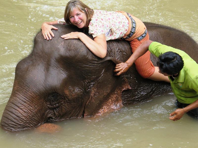 Myanmar 2 Wochen - Baden mit Elefanten bei Kalaw