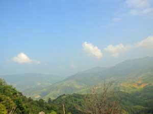 Blick auf die Shan Berge bei Kengtung