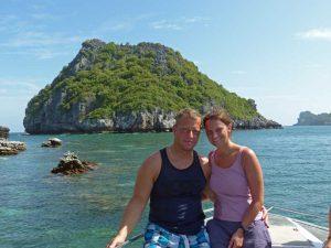 Reisende auf einem Bootsausflug