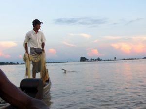 Irrawaddy Delfin hilft beim Fischfang