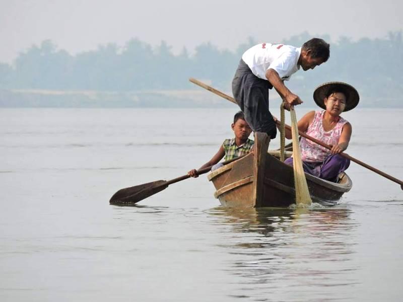Fischer auf dem Irrawaddy