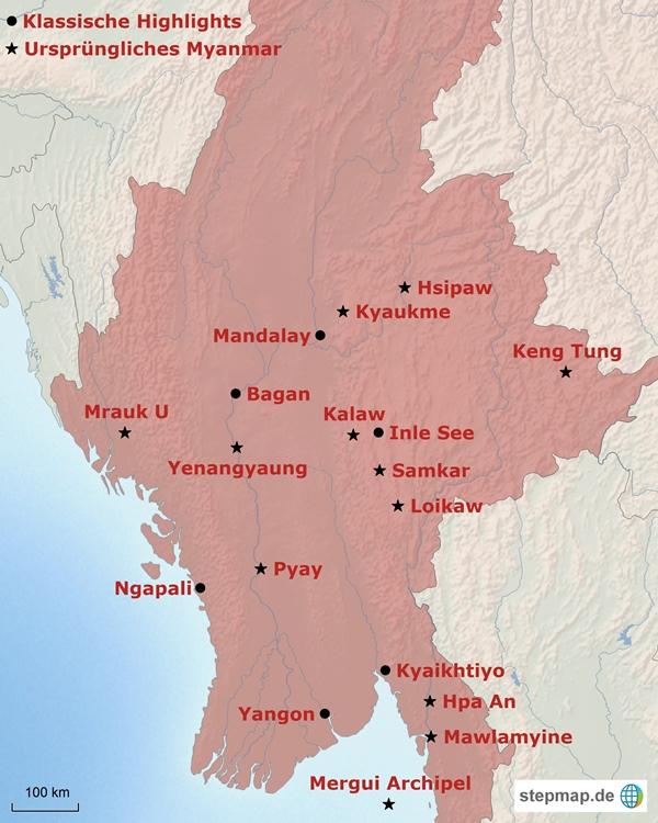 Karte Myanmar.Myanmar Karte übersicht Der Highlights Des Landes Erlebe Myanmar