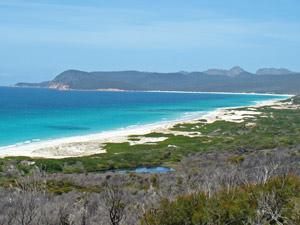 Bay of Fires, selfdrive Tasmanie