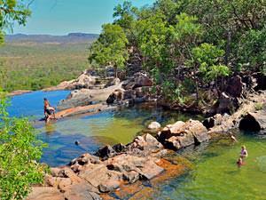 Zwemmen bij Gunlom Falls