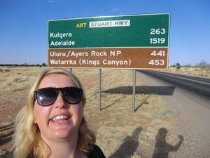 Verkeersbord Australië reisafstanden