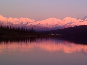 Sonnenuntergang am See Denali Nationalpark