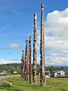 Traditionelles Indianerdorf in British Columbia