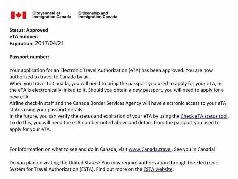 Electronic Travel Authorization (eTA)