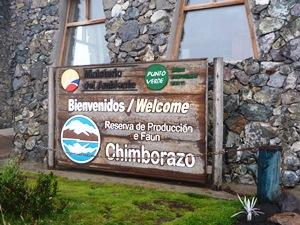 Willkommensschild zum Chimborazo Nationalpark