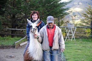 Frau reitet auf Lama
