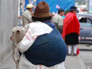 Frau mit kleinen Schaf auf dem Rücken