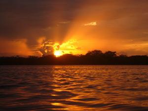 Sonnenuntergang im Cuyabeno Reservat